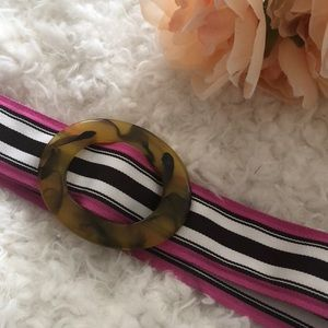 J Crew Pink brown and white resin and ribbon belt
